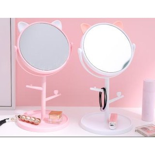 Gương để bàn mỹ phẩm gương thỏ gương mèo G31 gương trang điểm loại to có móc để trang sức