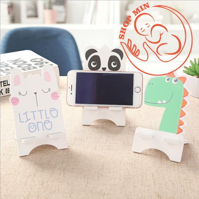 Giá đỡ điện thoại gỗ hình động vật đáng yêu 8x8.8x14cm