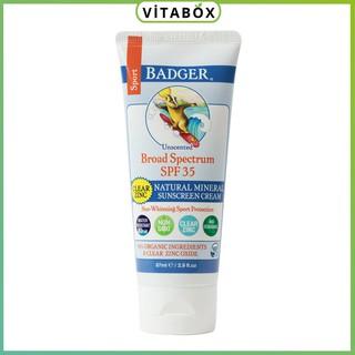 Badger - Kem Chống Nắng Vật Lý Thể Thao SPF 35 - Clear Zinc Sport Sunscreen - 87ml thumbnail