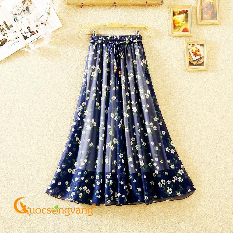 Chân váy dài Maxi chân váy lụa chiffon dài lụa chiffon GLV144 - Chân váy dài Chân váy dài