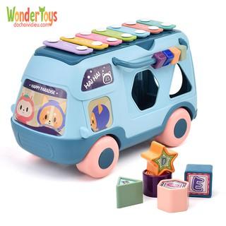 Đồ chơi xe buýt gõ nhạc và phát nhạc đa chức năng và sắp xếp hình khối cho bé