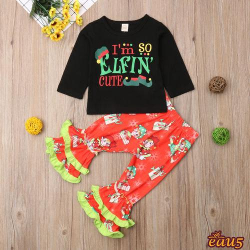 ☜♠☞Baby Girl Xmas Print Gifts Hooded Clothes Cotton Hoodies Tops T shirt Ruffles Pants Flared Trousers