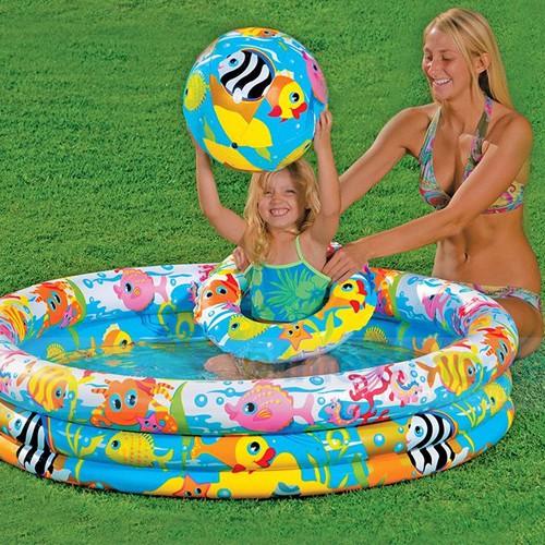 Bộ bể bơi phao 3 chi tiết 1m3 x 28cm - Tặng kèm 30 quả bóng nhựa 5.5 cm + 3 vịt bơi chít chít