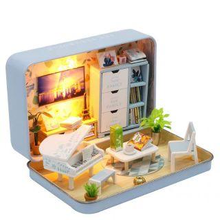 Kèm keo dán – Mô hình nhà gỗ búp bê Dollhouse DIY – S931 Happiness Theatre