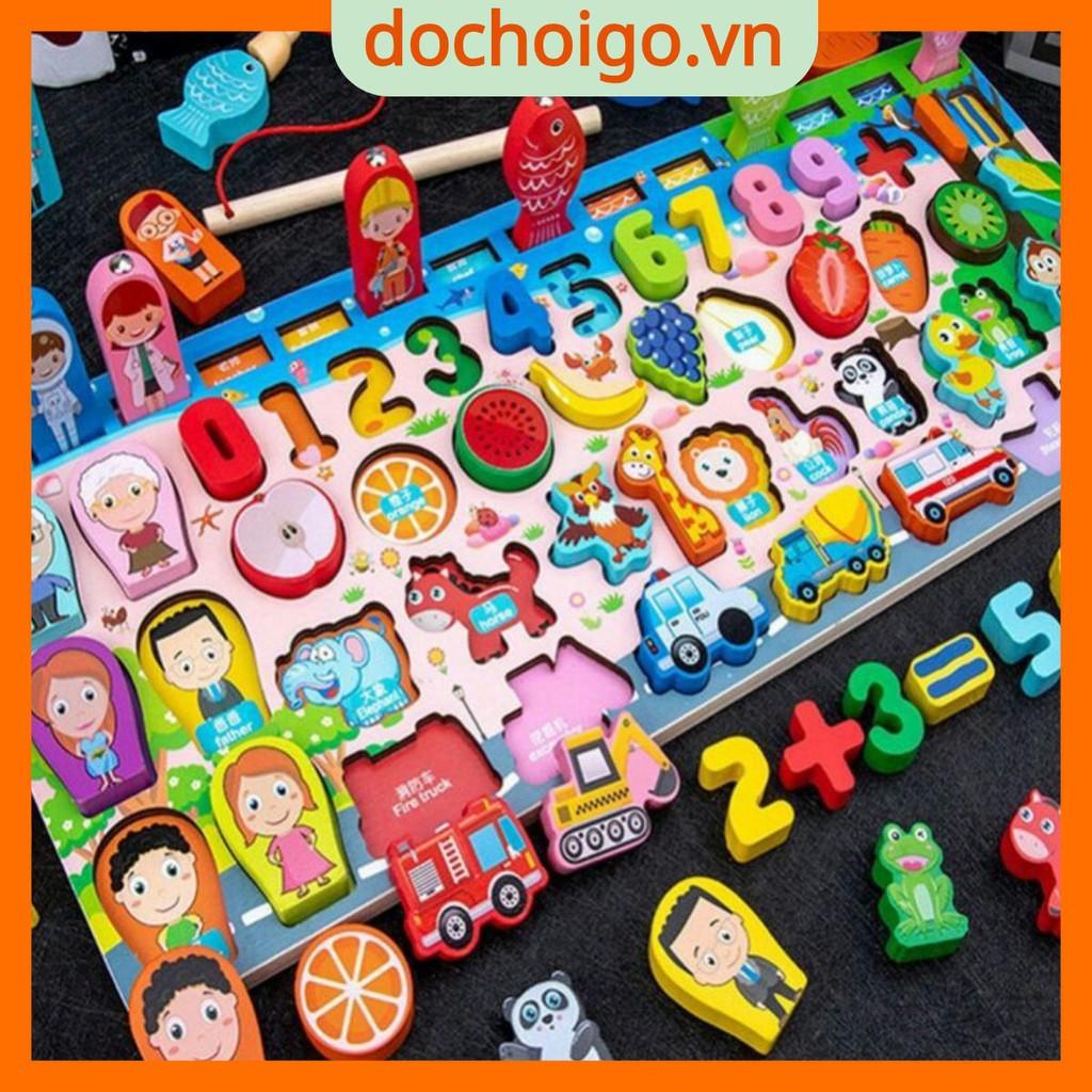 Bộ bảng số thông minh kèm đồ chơi câu cá cho bé, đồ chơi gỗ phát triển trí tuệ dochoigo.vn
