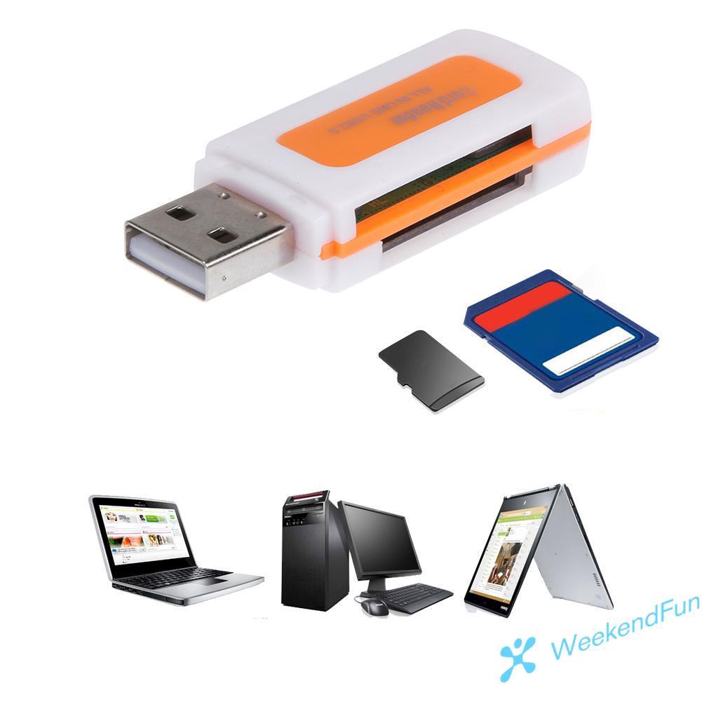 Đầu Đọc Thẻ Nhớ Mini Usb 2.0 4 Ngăn Sd/Mmc Tf Ms M2 - Thẻ nhớ máy ảnh