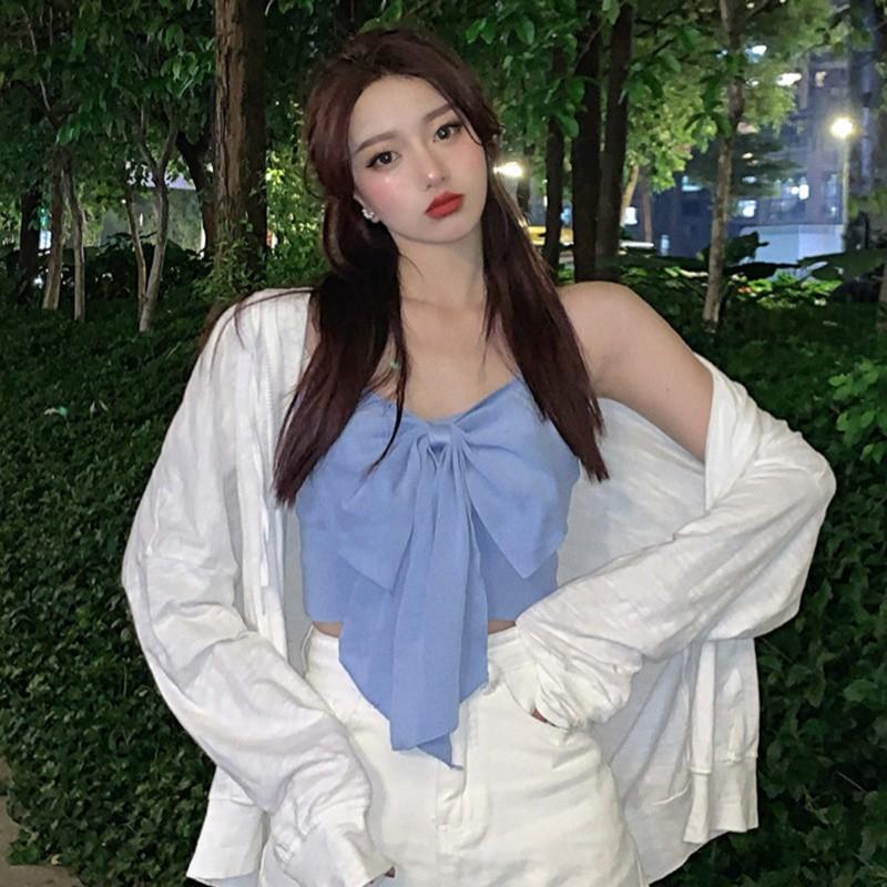 Áo Lửng Hai Dây Thắt Nơ Xinh Xắn Dành Cho Nữ