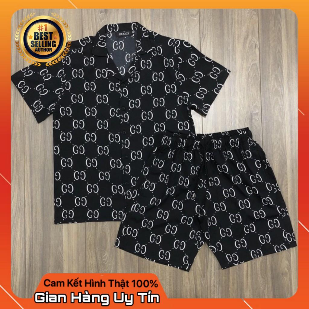 Bộ quần áo hè nam cổ bẻ GG cao cấp chất lụa mát mịn BQAH003