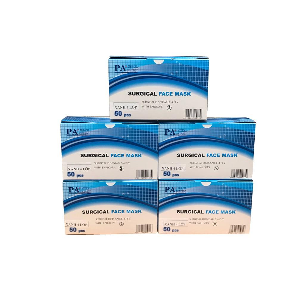 Bộ 05 hộp khẩu trang y tế 4 lớp xanh PA Medical (Hộp 50 cái)