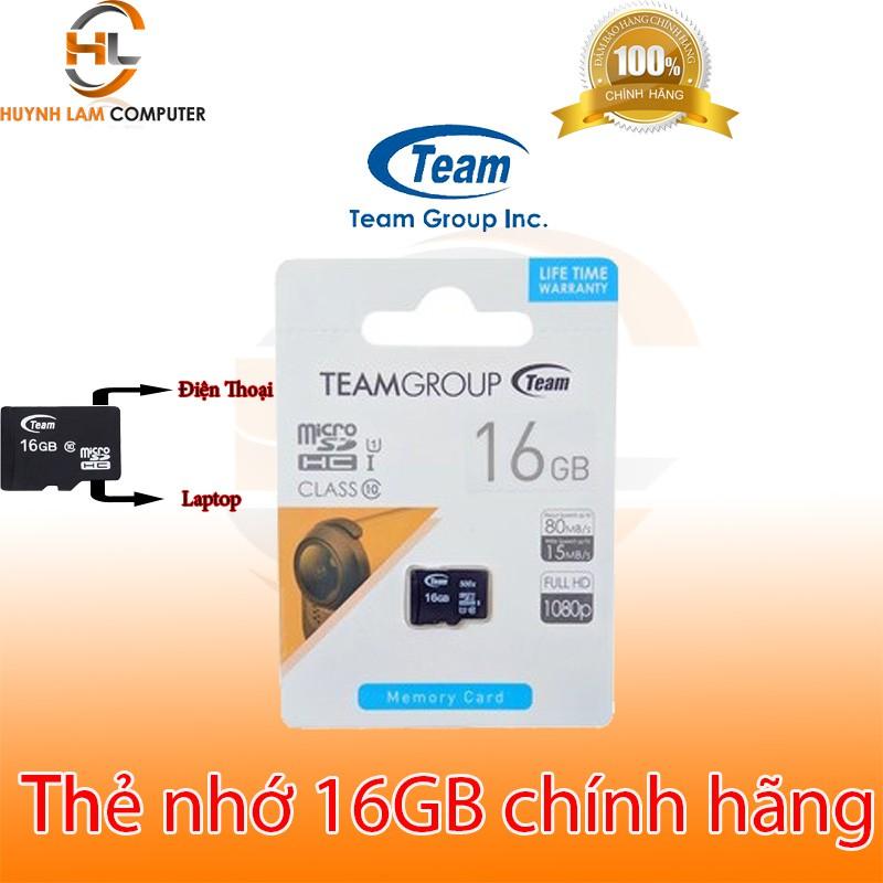 Thẻ nhớ 16GB - Thẻ nhớ 16GB Team Micro SD Class10 chính hãng phân phối