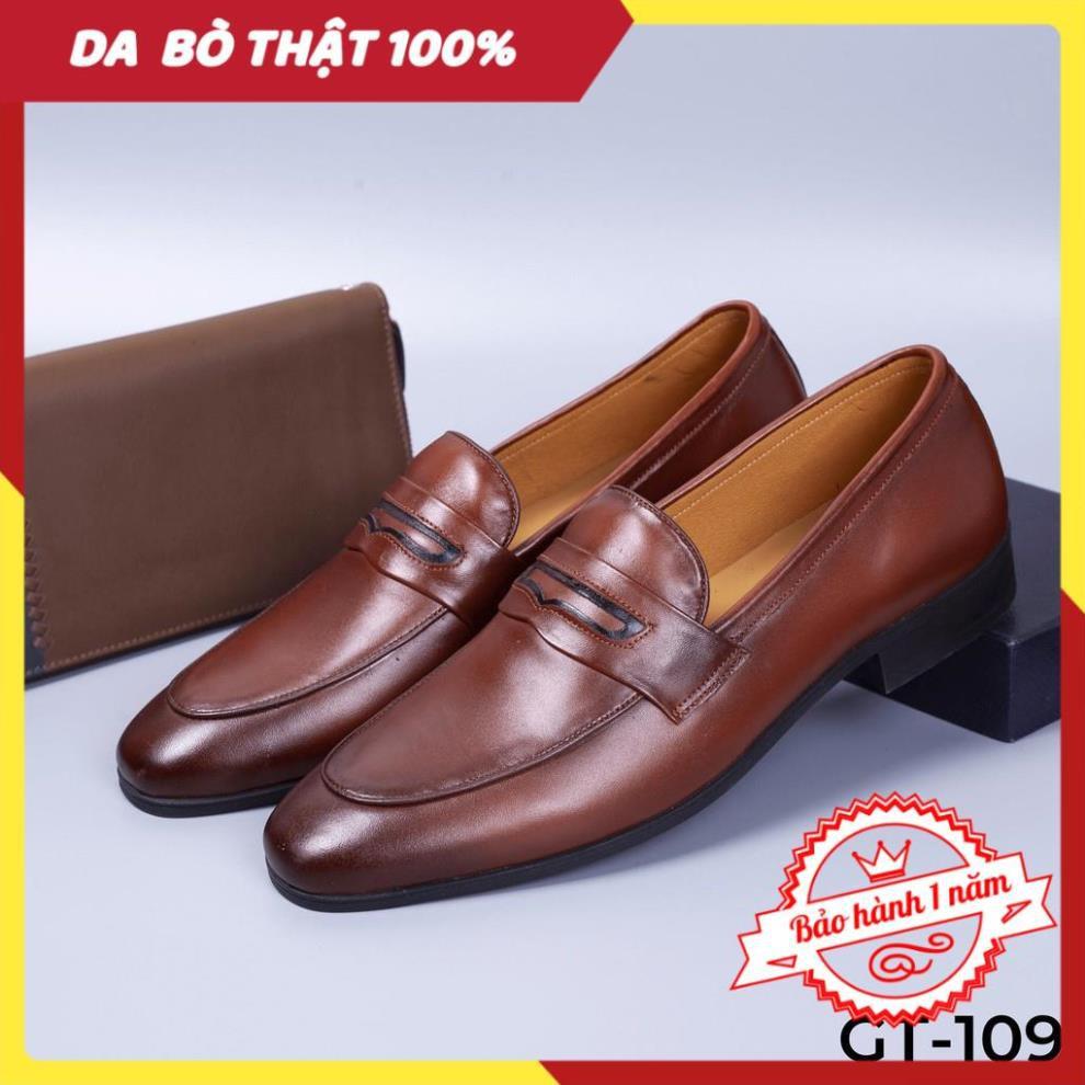 [FREESHIP - DA THẬT] -  Giày lười nam màu nâu da bò cao cấp - Giày tây công sở tăng chiều cao 5cm - GT109