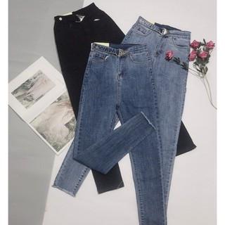 Quần Jean Nữ Lưng Cao Khuy Kiểu Thời Trang Cho Nữ