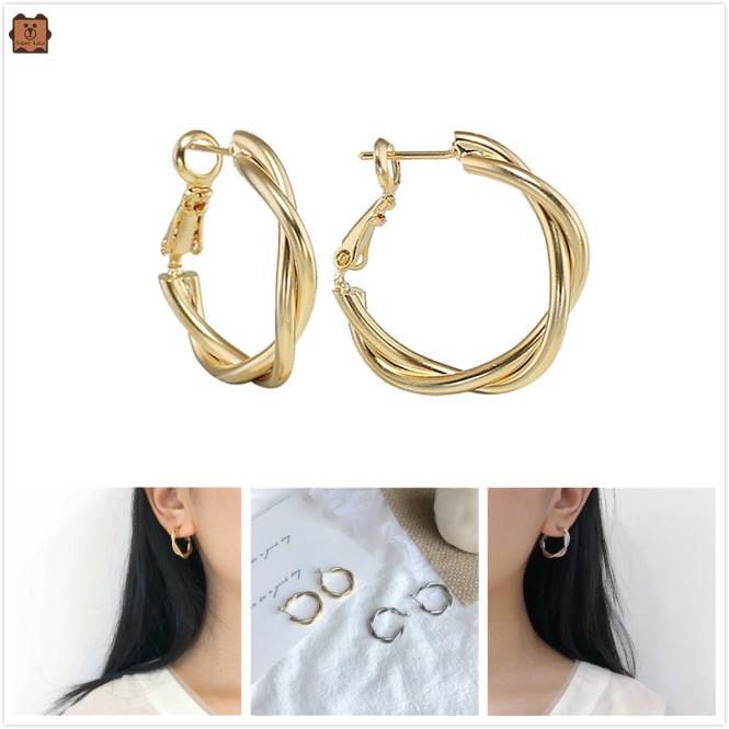 Bông tai bạc/vàng dạng vòng thiết kế đơn giản thời trang cho nữ