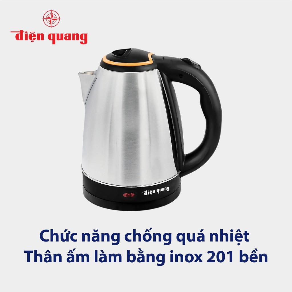 Ấm đun nước siêu tốc Điện Quang (1500W, 1.8L, INOX 201, nhựa PP màu đen) ĐQ EKT06 1518 BL