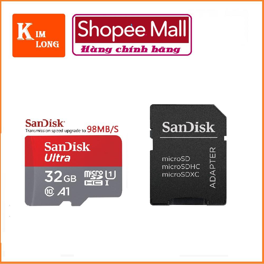 Thẻ nhớ 32GB Micro SDHC A1 Ultra C10 98MB/s SanDisk - chính hãng