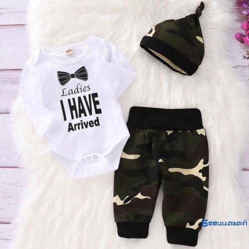Bộ đồ 3 món áo thun in chữ tay ngắn + nón, quần thun họa tiết rằn ri dành cho bé trai