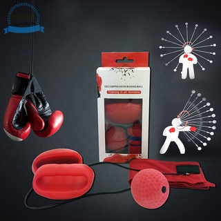 Qswba Boxing Punching Ball with Head Band Boxing Gloves Improve Reactions Speed Training Fitness