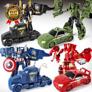 Marvel Avengers Iron Man Captain America Thor Hulk Action Figure Toy Deformation Model Car Kids Toy Car