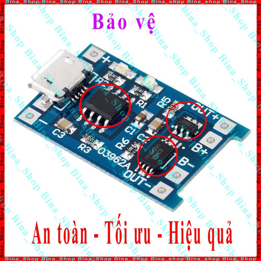 Mạch sạc pin 18650 có bảo vệ IC TP4056 / TC4056A / 4056