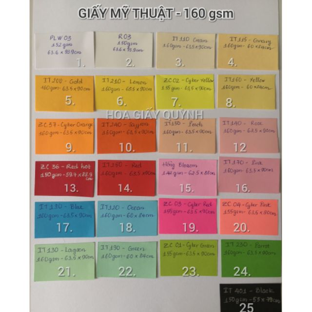 GIẤY MỸ THUẬT KHỔ LỚN 160Gsm (màu 1-15)