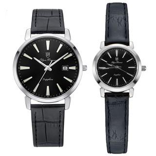 Đồng hồ đôi nam nữ dây da mặt kính chống xước Olym Pianus OP130-03 MS LS-GL đen thumbnail