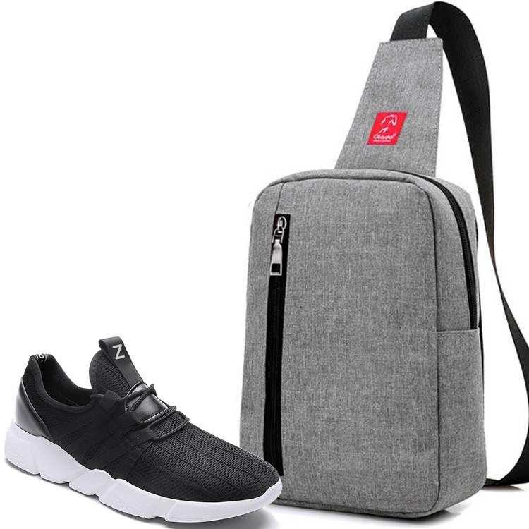 Combo Túi Messenger Thời Trang Glado DCG026 (Màu Xám) + Giày Sneaker GZ016 (Đen)