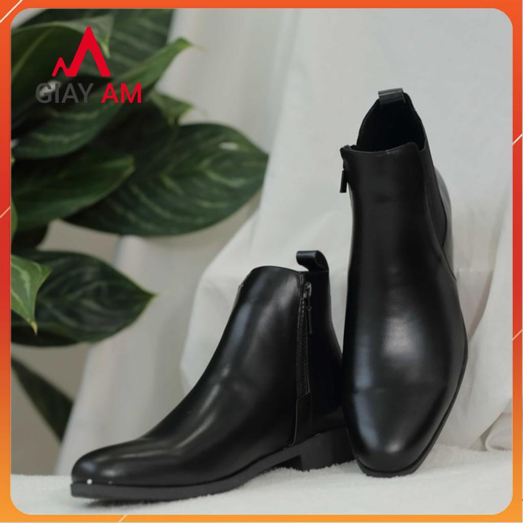 [Giày Chelsea boot da bò thật] - Giày cao cổ nam giúp tăng chiều cao gần 5cm