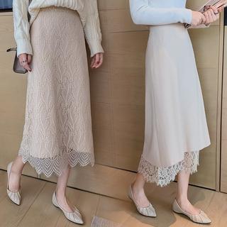 Chân Váy Chữ A Phối Ren Thời Trang Dành Cho Nữ 【Có thể đeo cả hai mặt】