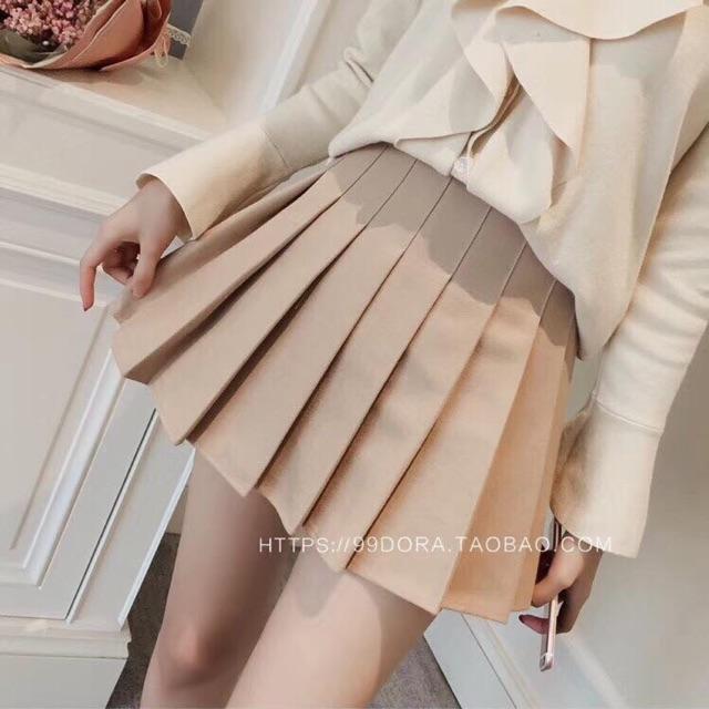 Chân váy xếp ly vải dày dặn