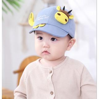 (Ảnh thật 100%)Mũ, nó lưỡi trai vải mềm mát hình chú trâu cực yêu cho bé từ 0-2.5 tuổi