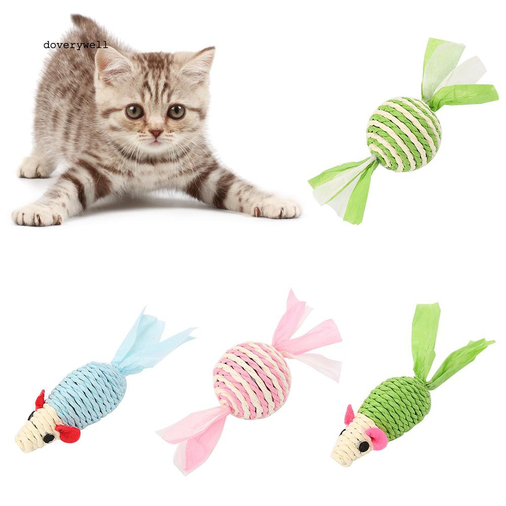 DYL_Pet Cat Kitten Mouse Rattle Toy Bite Chew Catch Clean Teeth Interactive Gift