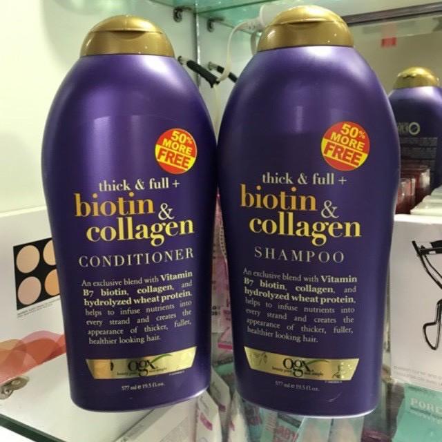 Dầu Gội Xả Biotin Collagen Chống Rụng Tóc Và Kích Thích Mọc Tóc 577ml(Một Cặp)