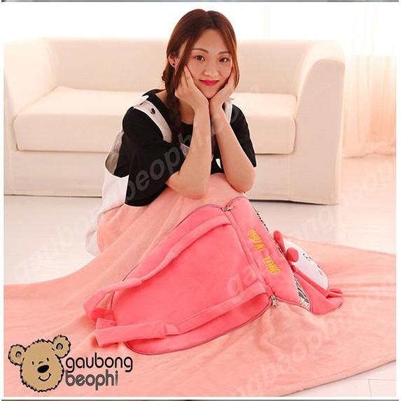 Balo Kiêm Mền - Gối - Vải Nhung Siêu Mịn - Quà Tặng Valentine 14/2 Cho Nàng