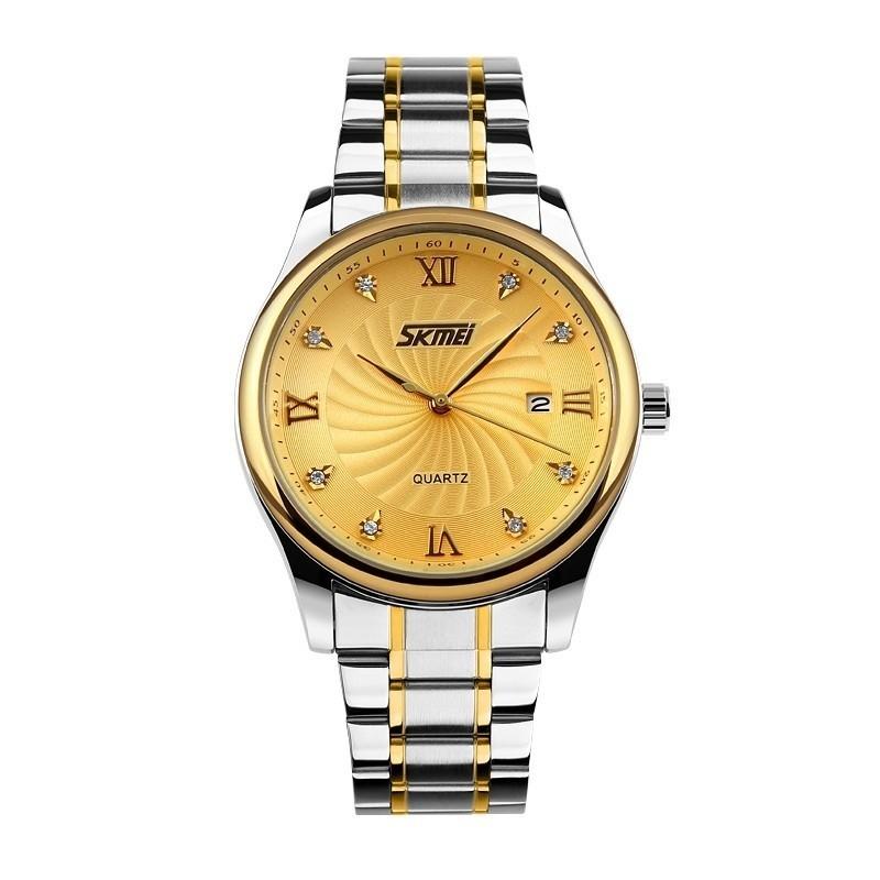Đồng hồ nam kim Skmei mặt vàng sành điệu