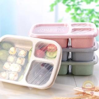 Yêu ThíchKhay đựng thức ăn cơm trưa có nắp đậy 4 và 3 ngăn lúa mạch | Hộp để đồ ăn văn phòng học sinh viên cao cấp