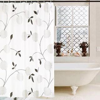 Rèm phòng tắm Rèm cửa sổ Trắng họa tiết Hoa Cúc Đen 180cm x 180cm Loại 1 thumbnail