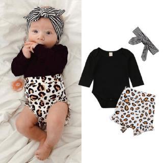 ❤OKDK-Newborn Kids Baby Girls Leopard print Clothes Romper Pants Headband Outfit 0-24M