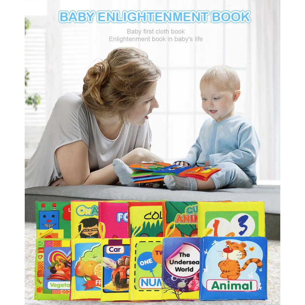 (Phát triển trí não cho bé) Sách vải hoạ tiết về thiên nhiên hỗ trợ quá trình phát triển trí não cho bé