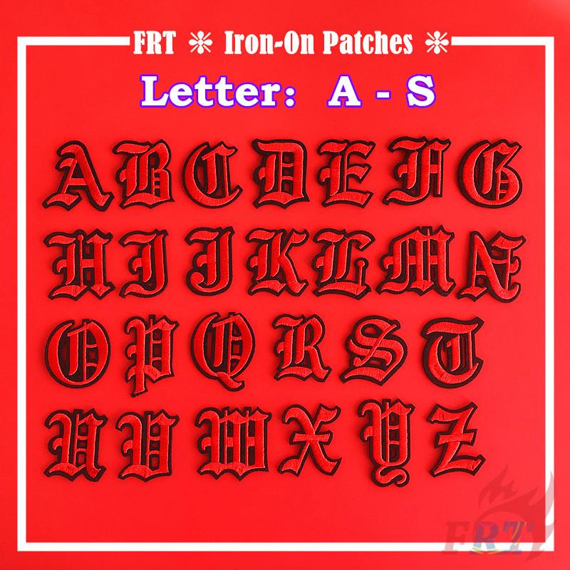 Miếng vá quần áo ủi/may hình chữ cái Tiếng Anh màu đỏ & đen DIY (chữ A-S)