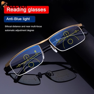 CLEVER Men Women Fashion Progressive Presbyopic Eyeglasses Radiation Protection Computer Goggles Anti Blue Light Reading Glasses Anti-UV Anti-blue Rays Retro Classic Anti-fatigue Multifocal Bifocal Eyewear/Multicolor