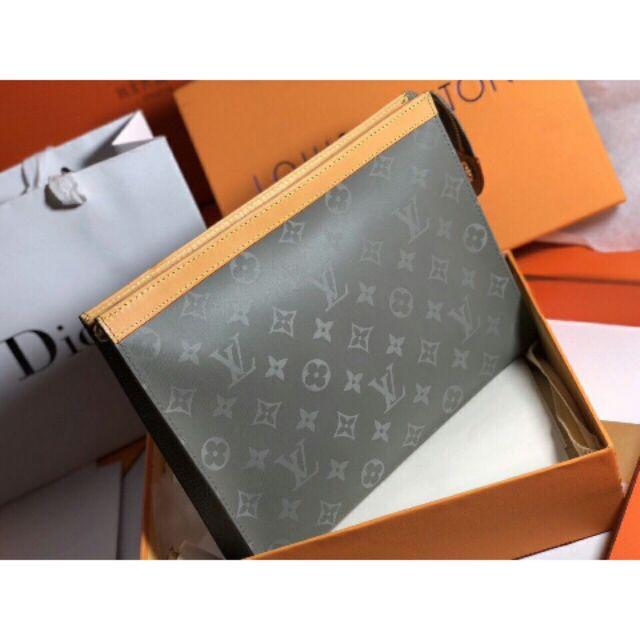 Túi cầm tay túi đựng ipad hoa văn màu xanh xám da thật clutch cho nam và nữ hàng cao cấp full box ( Có Hộp)