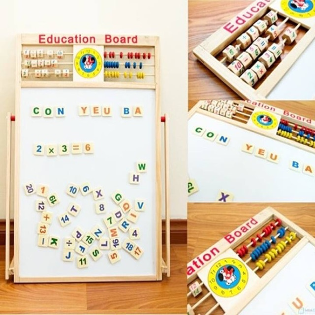 Bảng ghép chữ và số bằng gỗ