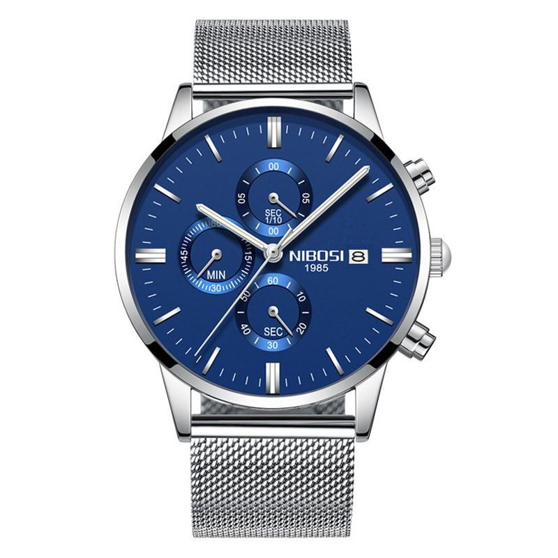 Đồng hồ nam Nibosi dây lưới màu bạc kiểu dáng thể thao
