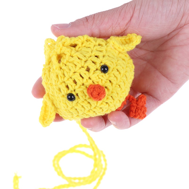 Child cute yellow eggs bagging handmade knitted crossbody small bag