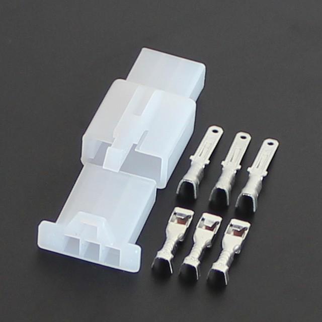 Giắc nối điện xe máy 3P 2.8mm - Bô jack cos nhựa và cos đồng (10 bộ)