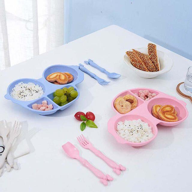 Bộ chén muỗng và nĩa hình oto làm từ lúa mạch cho bé ăn dặm