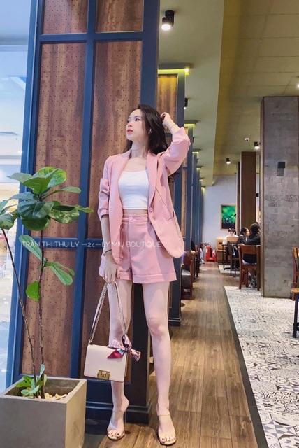 Bộ vest nữ - Freeship - Vest nữ hàn quốc cao cấp, vest nữ công sở 3 món y hình (gồm Áo vest blazer+áo thun+quần short)