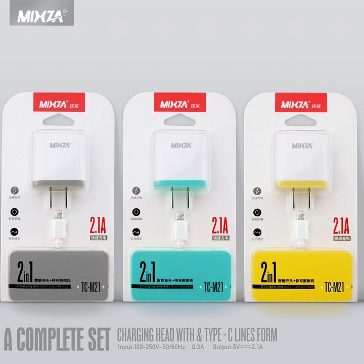 Bộ sạc nhanh 2.1A MIXZA 2 trong 1 dành cho ANDRIOD (MicroUSB)