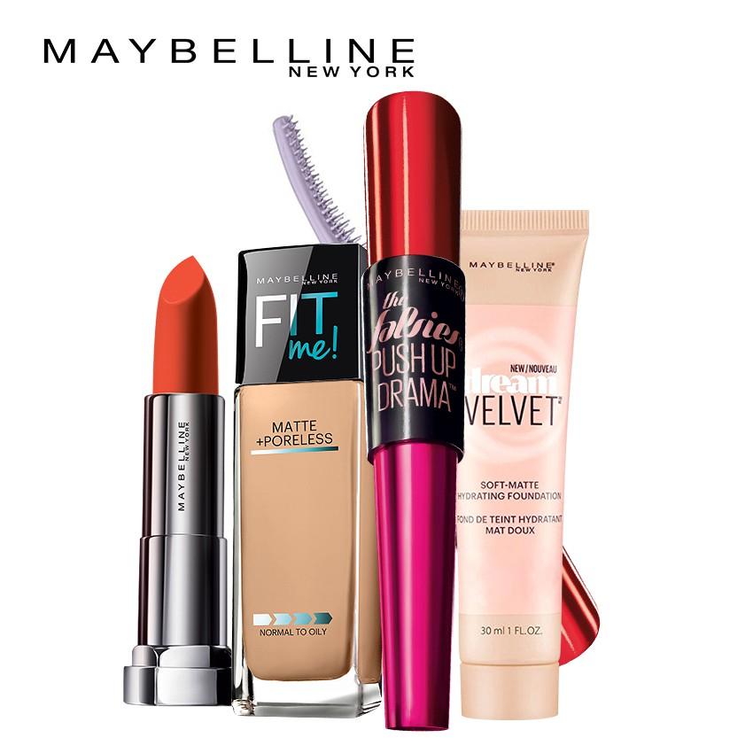 Bộ trang điểm Maybelline: Mascara + Kem nền lì + Kem nền dạng gel + Son lì _ TUML00028CB