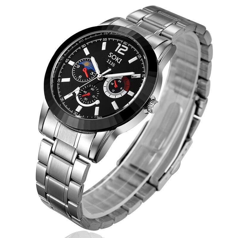 Đồng hồ nam SOKI SKO36 dây thép không gỉ + tặng kèm vòng tay tỳ hưu